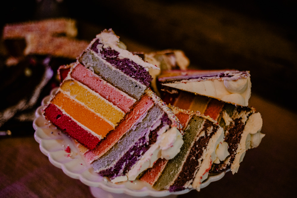 Rainbow Cake Slices Rustic Barn Wedding Louise Griffin Photography