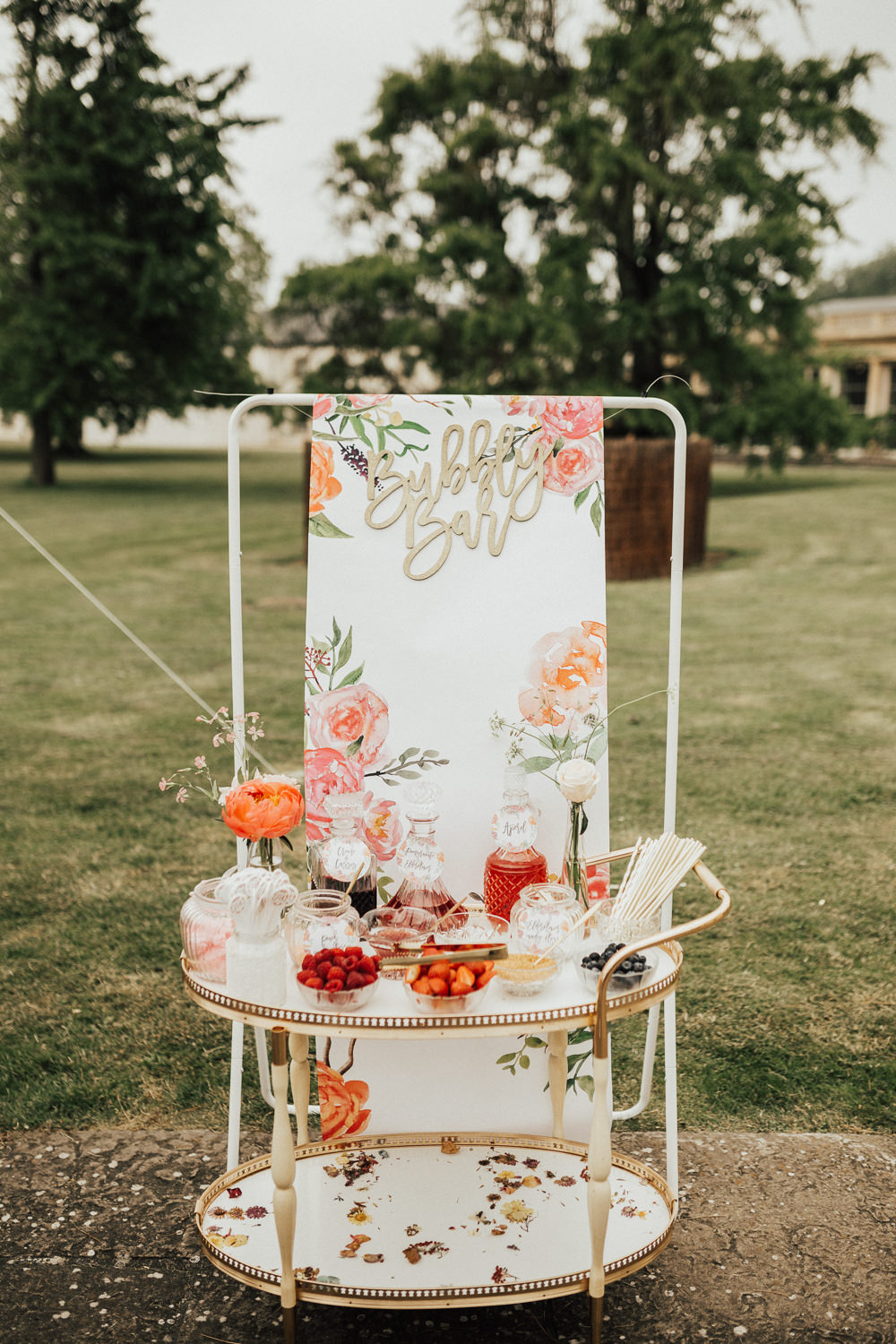 Bubble Bar Drinks Station Trolley Stubton Hall Wedding Darina Stoda Photography