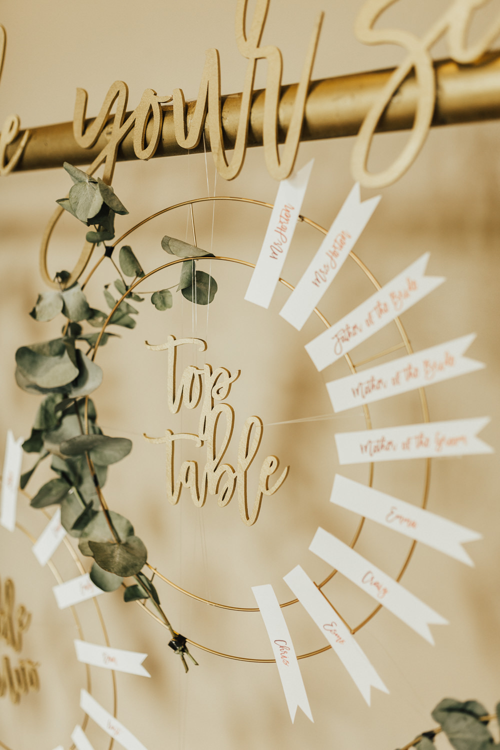 Seating Plan Table Chart Hoop Wire Greenery Foliage Stubton Hall Wedding Darina Stoda Photography