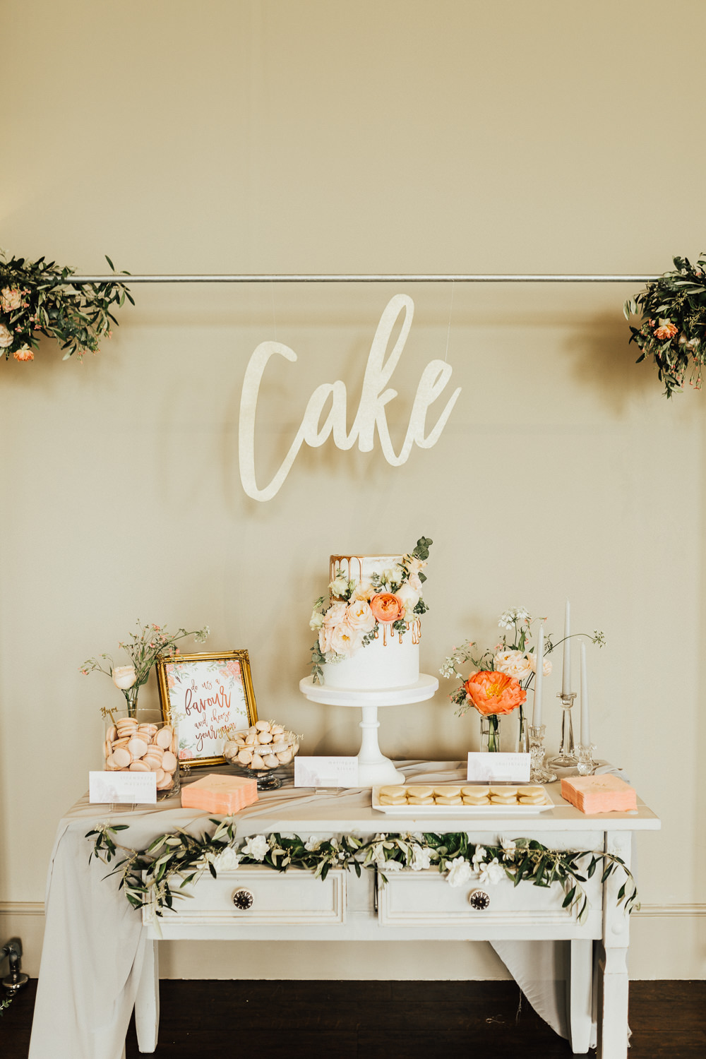 Cake Table Desserts Furniture Stubton Hall Wedding Darina Stoda Photography