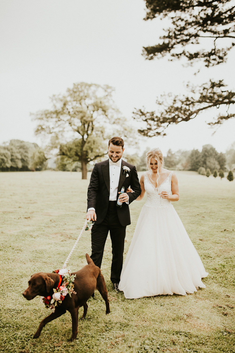 Dog Pet Flower Collar Stubton Hall Wedding Darina Stoda Photography