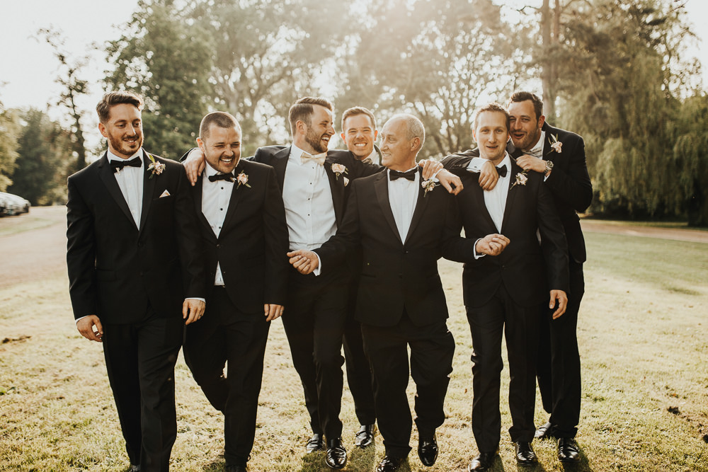 Groom Suit Tux Tuxedo Bow Tie Groomsmen Stubton Hall Wedding Darina Stoda Photography