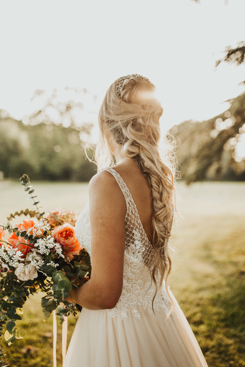 Hair Bride Bridal Long Style Up Do Plait Braid Curls Waves Stubton Hall Wedding Darina Stoda Photography