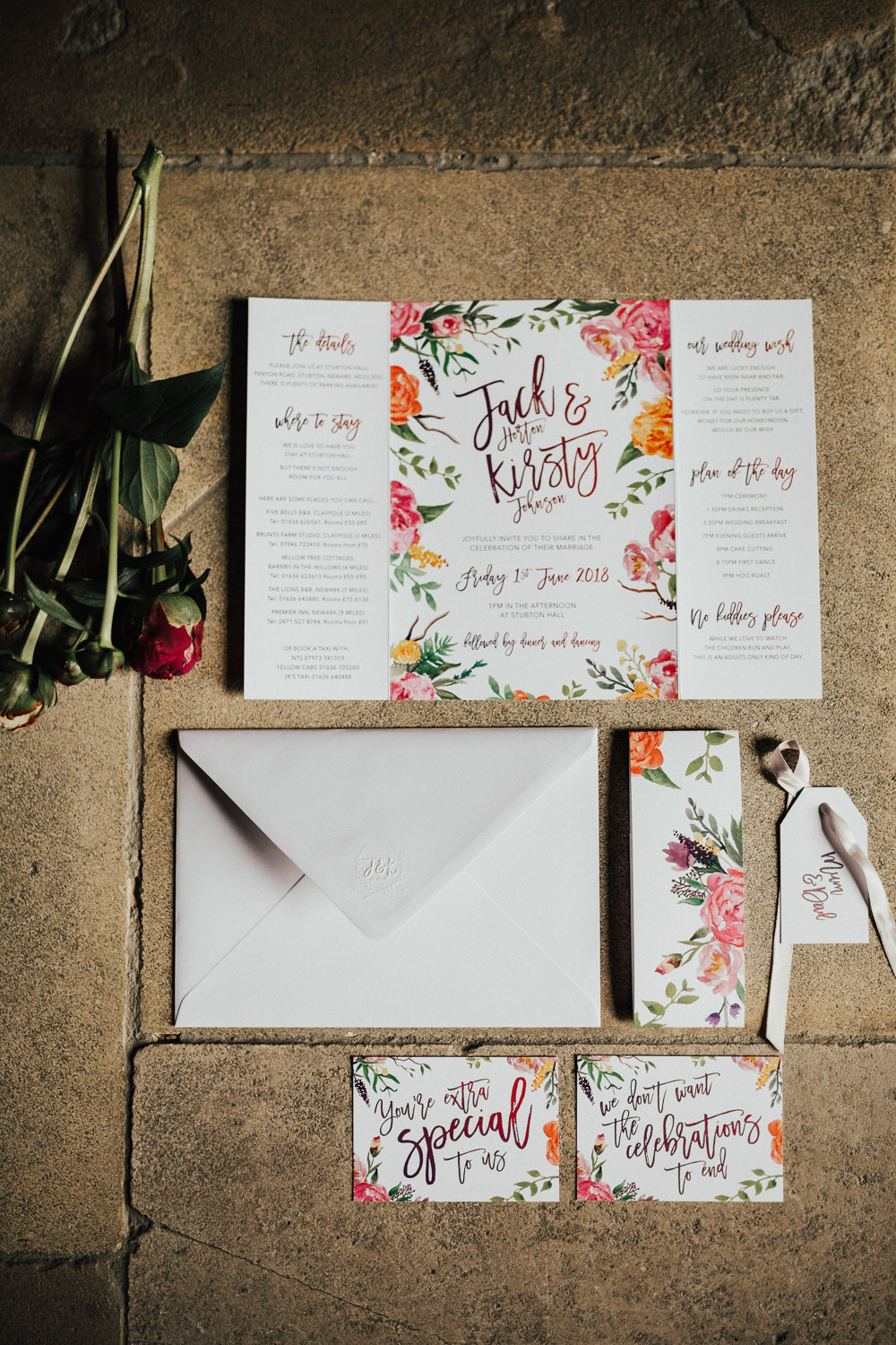 Coral Floral Stationery Invite Invitations Stubton Hall Wedding Darina Stoda Photography