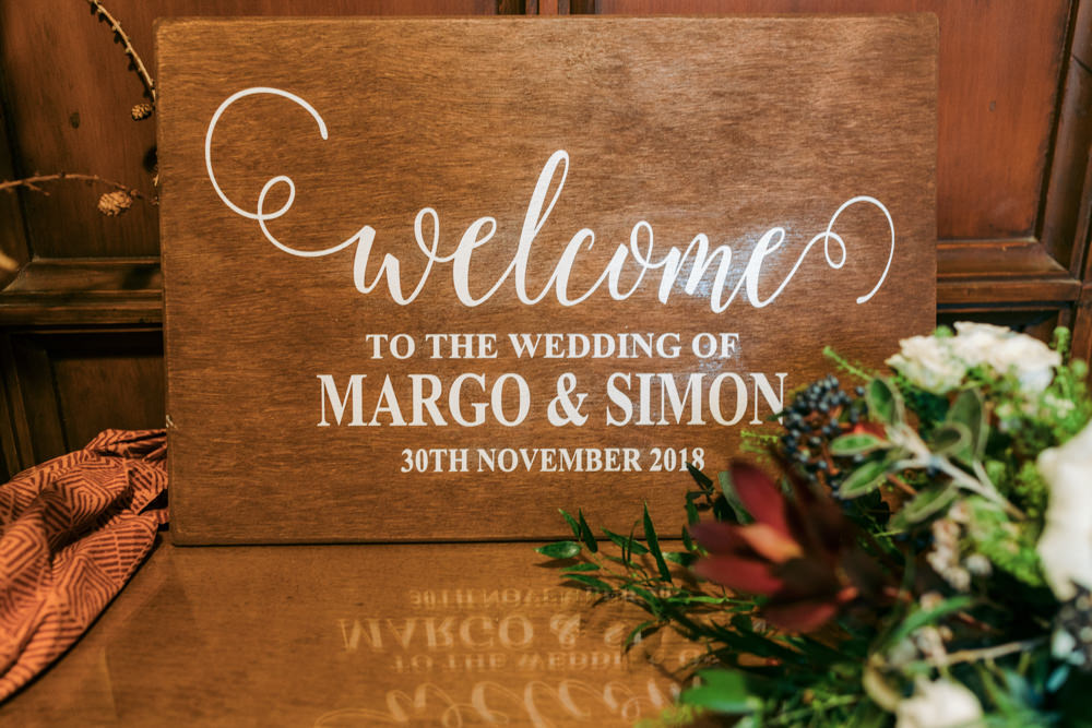 Wooden Welcome Sign Calligraphy Signs Signage Autumn Village Hall Wedding The Gibsons Photography