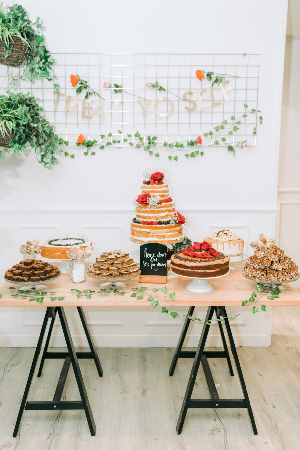 Wire Sign Banner Cake Table Desserts Naked Autumn Village Hall Wedding The Gibsons Photography