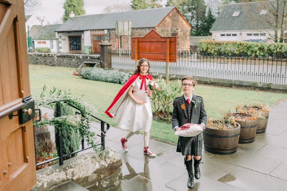 Page Boy Flower Girl Kilt Velvet Capes Autumn Village Hall Wedding The Gibsons Photography
