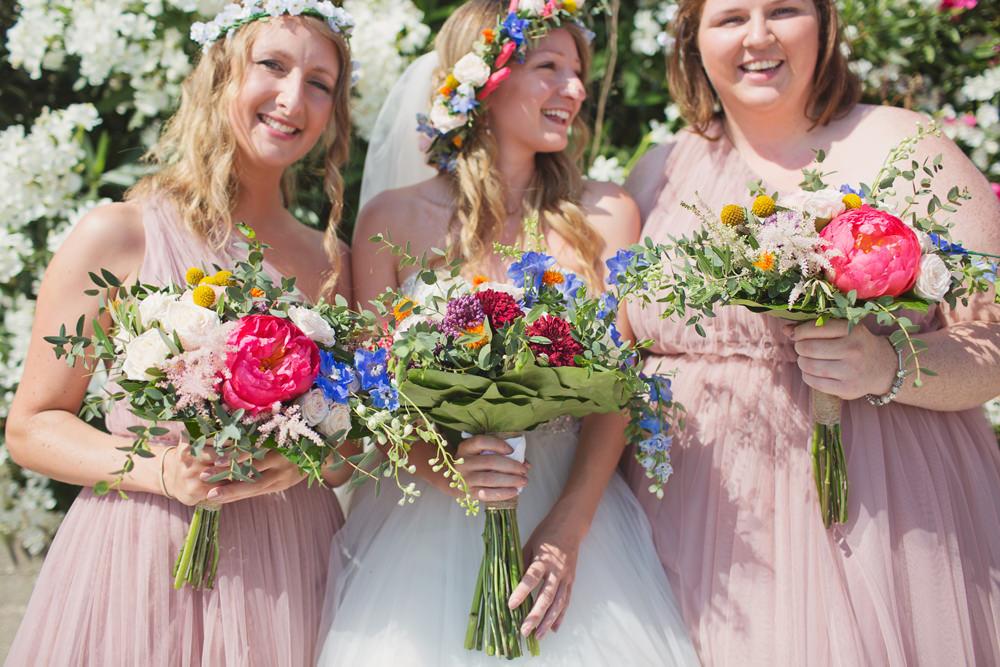 Bride Bridal Flowers Bouquet Coral Peony Peonies Billy Balls Astilbe Eucalyptus Bridesmaids Kefalonia Wedding Cotton Candy Weddings