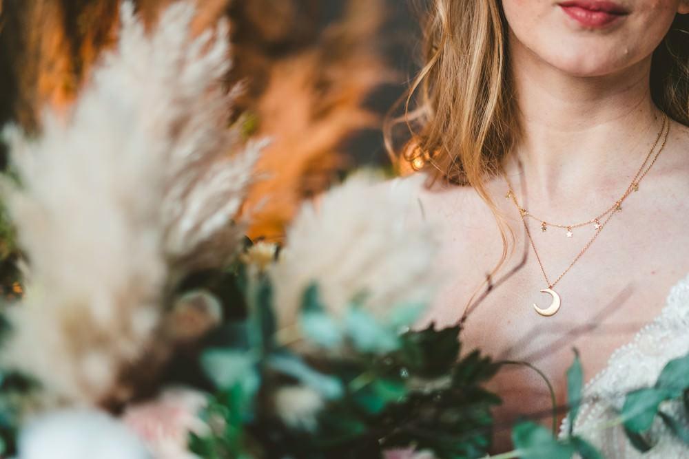 Necklace Bride Bridal Celestial Star Moon Accessory Pampas Grass Wedding Ideas Tim Stephenson Photography