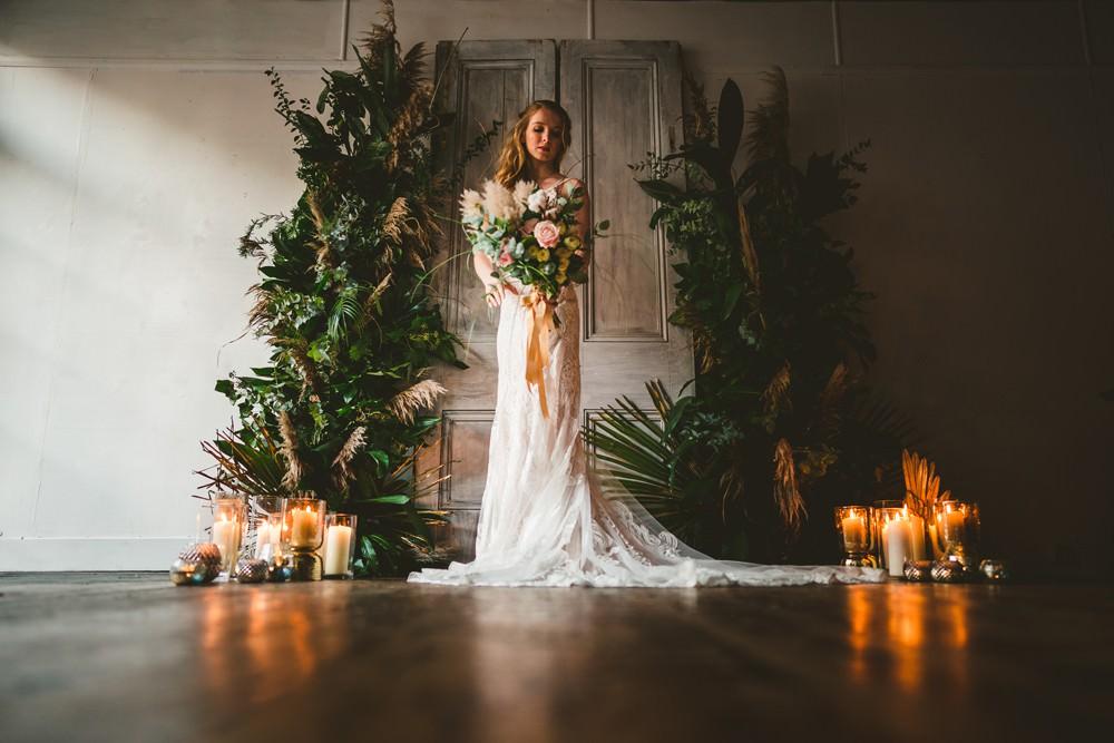 Backdrop Doors Shutters Greenery Foliage Candles Arch Flower Installation Pampas Grass Wedding Ideas Tim Stephenson Photography