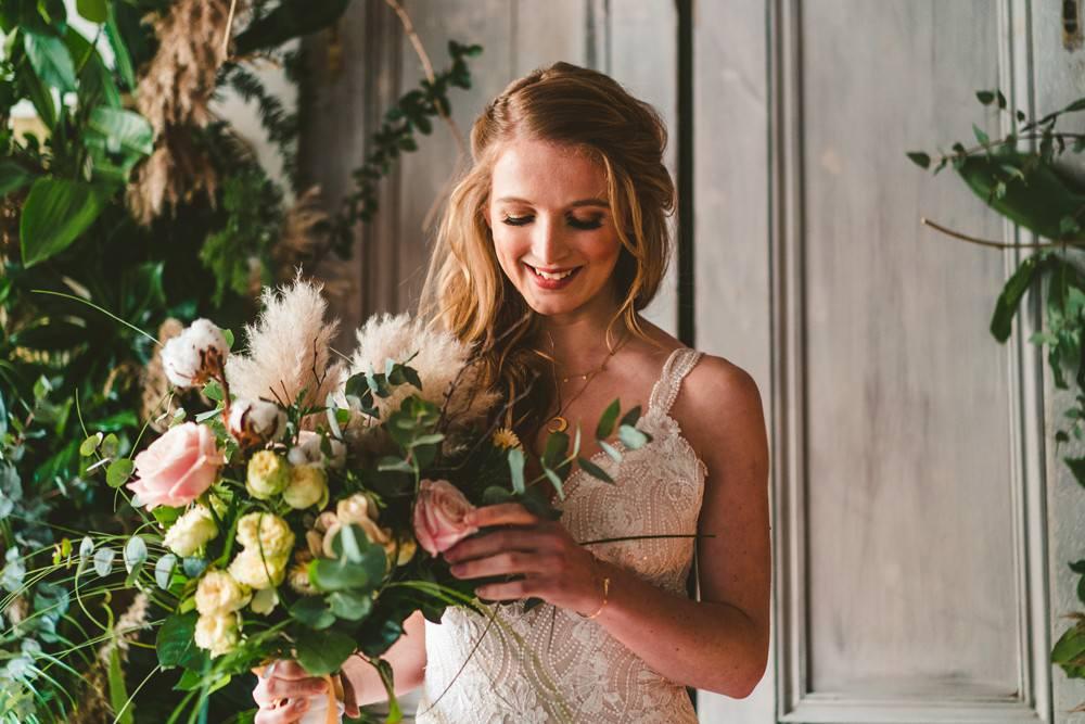 Bouquet Flowers Bride Bridal Rose Cotton Eucalyptus Pampas Grass Wedding Ideas Tim Stephenson Photography