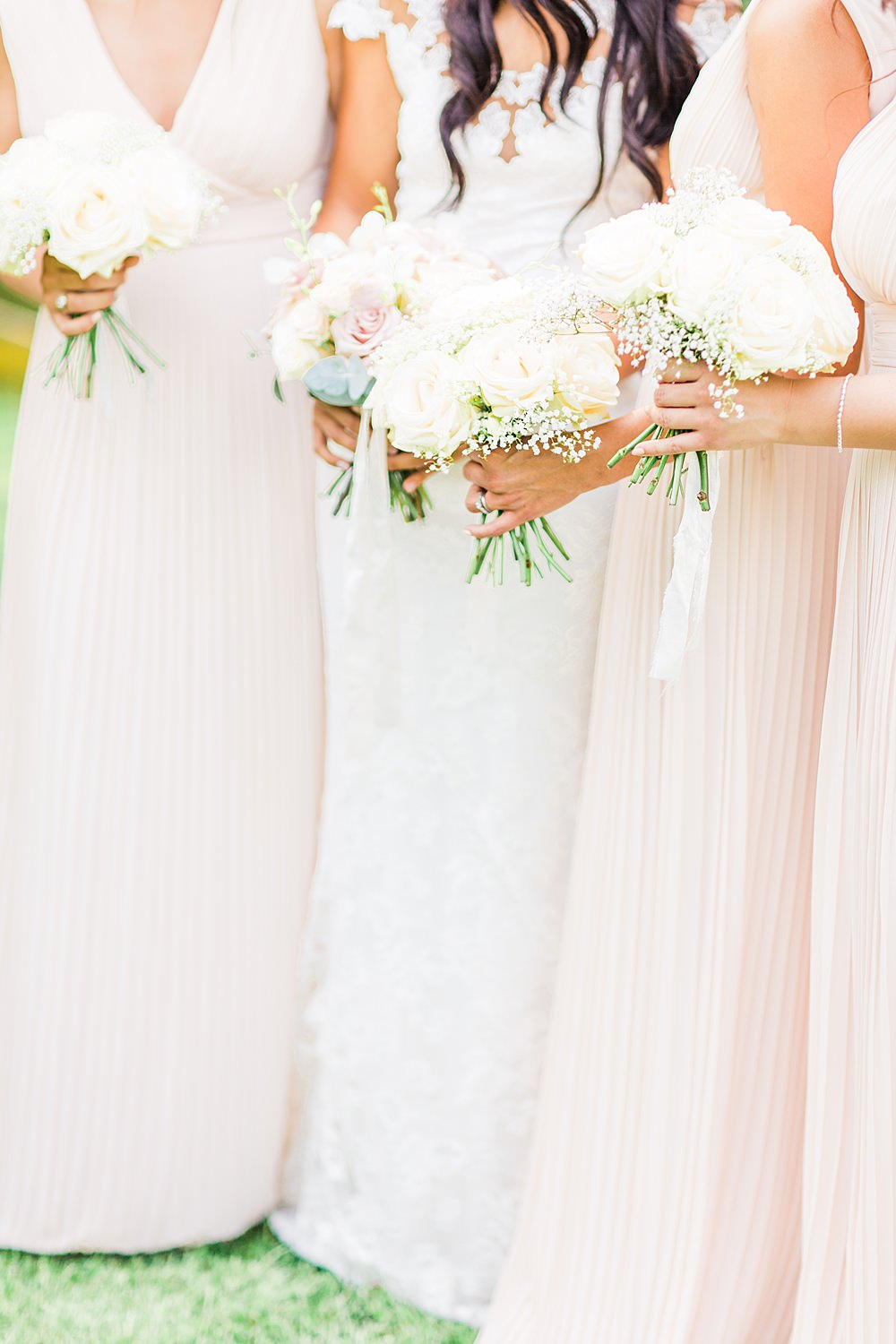 Bouquet Flowers Bride Bridal Bridesmaid Blush Cream Rose Pink Pastel Sheene Mill Wedding Terri & Lori Photography and Film Studio