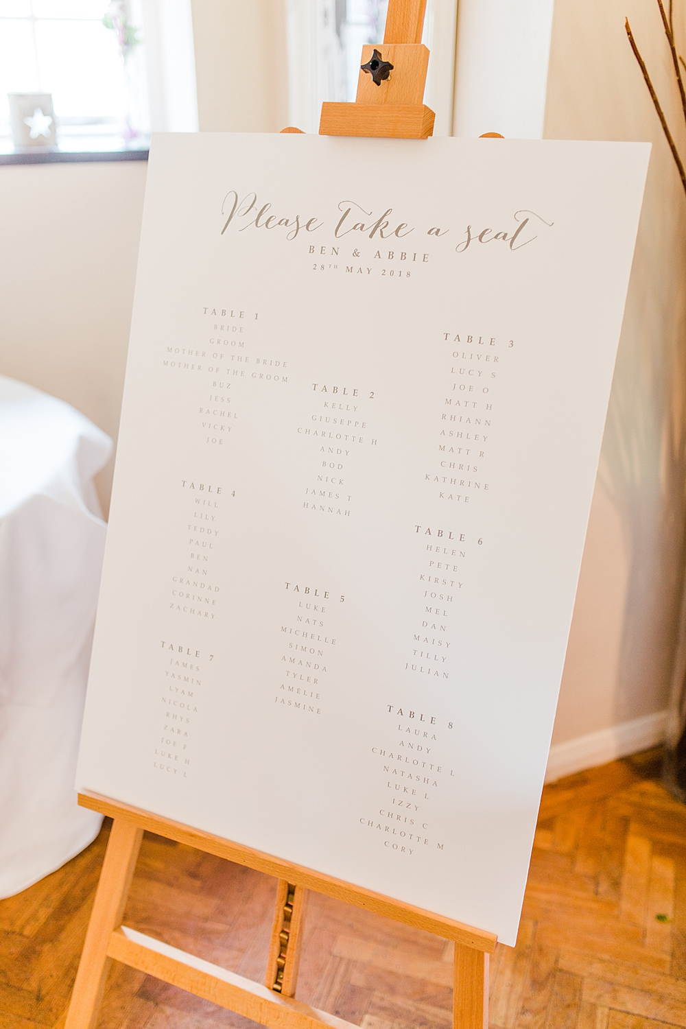 Modern Calligraphy Seating Plan Table Chart Easel Sheene Mill Wedding Terri & Lori Photography and Film Studio