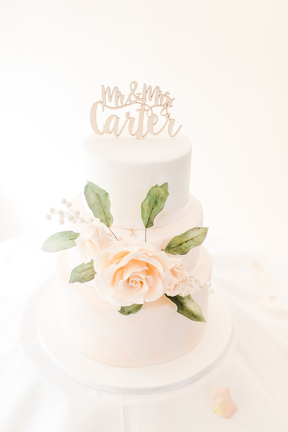 White Cake Blush Flowers Rose Laser Cut Topper Sheene Mill Wedding Terri & Lori Photography and Film Studio