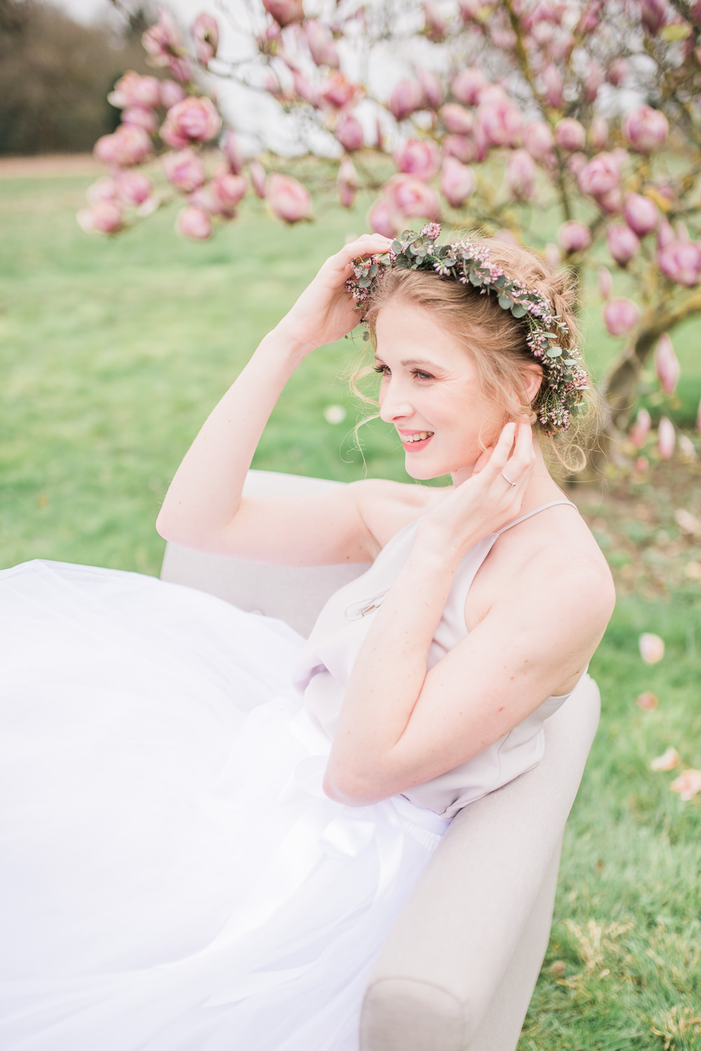 Bridesmaid Bridesmaids Tulle Skirts Tops Bows Pastel Flower Crown Springtime Bridal Shower Ideas Hen Party Laura Jane Photography