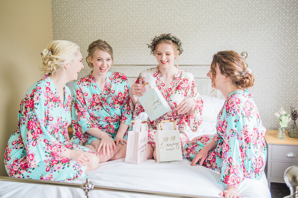 Bride Bridesmaids Dressing Gowns Robes Prep Gift Present Springtime Bridal Shower Ideas Hen Party Laura Jane Photography
