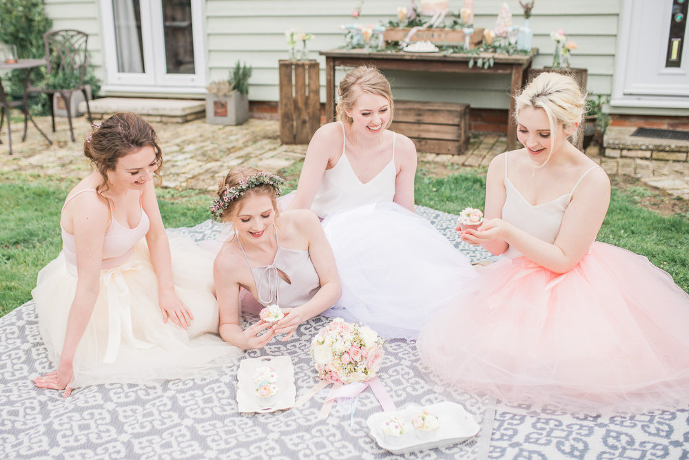 Bridesmaid Bridesmaids Tulle Skirts Tops Bows Pastel Springtime Bridal Shower Ideas Hen Party Laura Jane Photography