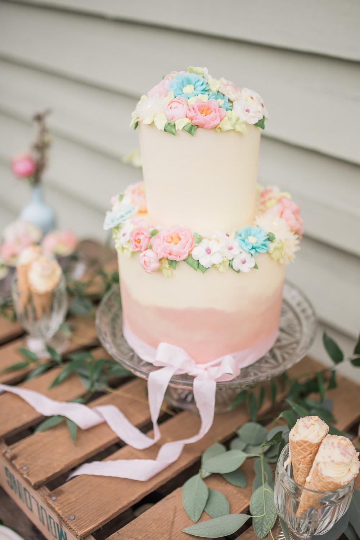 Pink Buttercream Cake Floral Flowers Pastel Springtime Bridal Shower Ideas Hen Party Laura Jane Photography