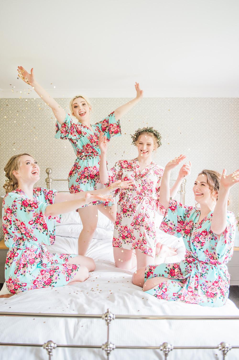 Bride Bridesmaids Dressing Gowns Robes Prep Glitter Confetti Springtime Bridal Shower Ideas Hen Party Laura Jane Photography