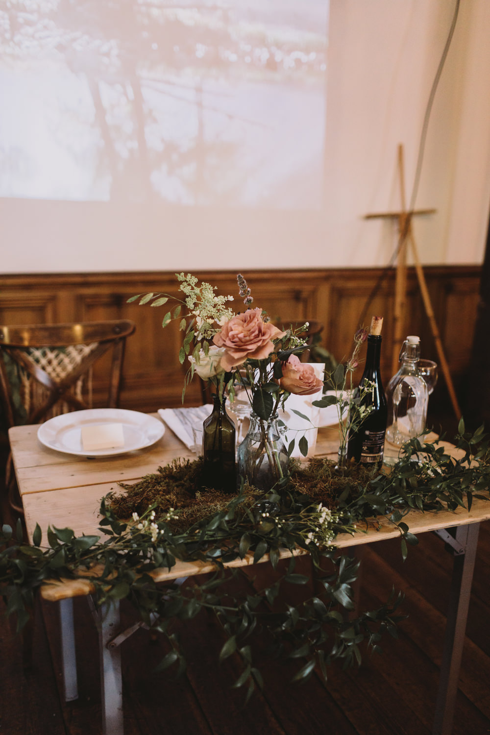 Table Centre Moss Bottle Rose Flowers Floral Foliage Tram House Wedding Luke Hayden Photography