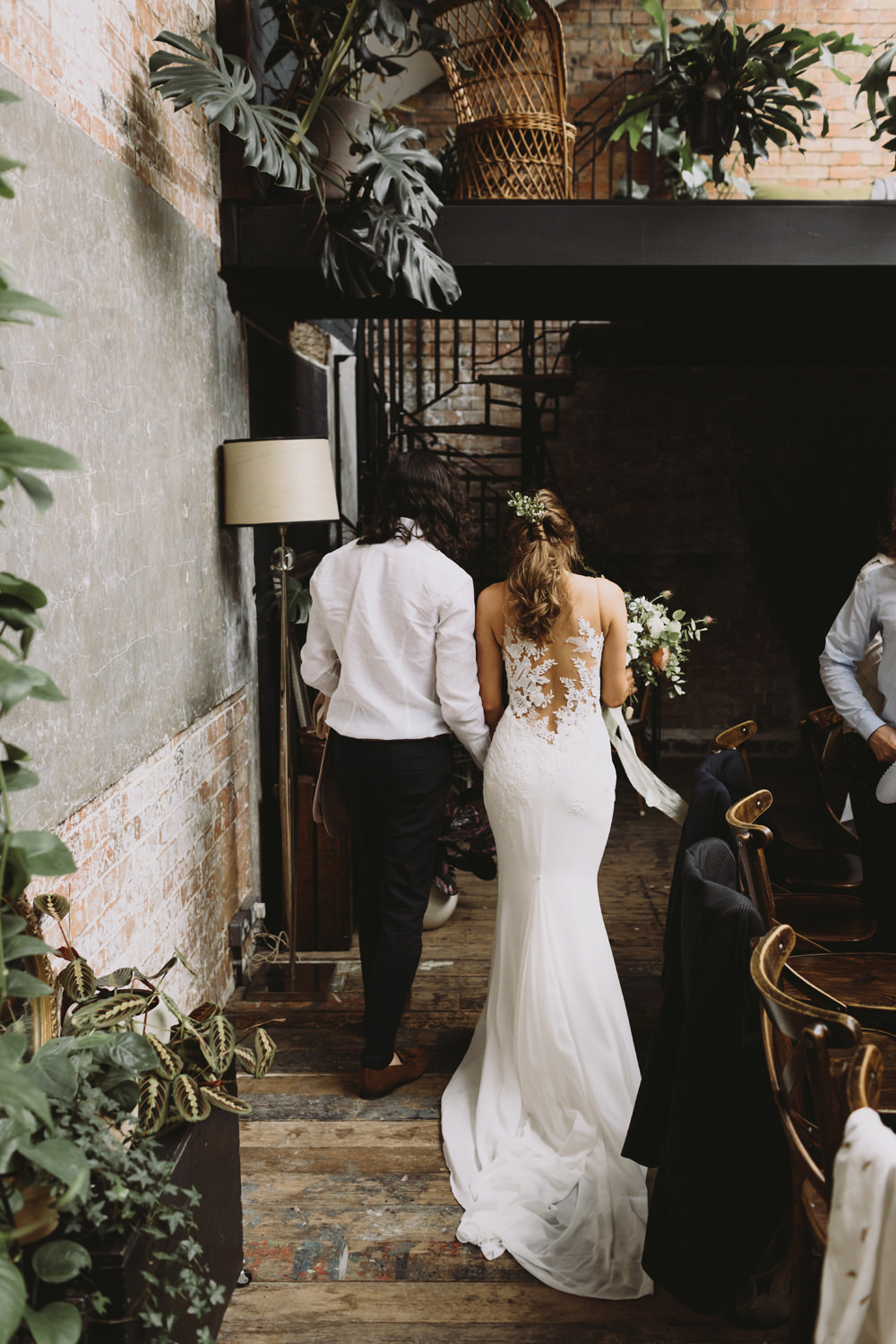 Bride Bridal Sleeveless V Neck Fit and Flare Train Pronovias Dress Gown Illusion Back Lace Reiss Groom Wild Bouquet Loose Handtied Rose Tram House Wedding Luke Hayden Photography