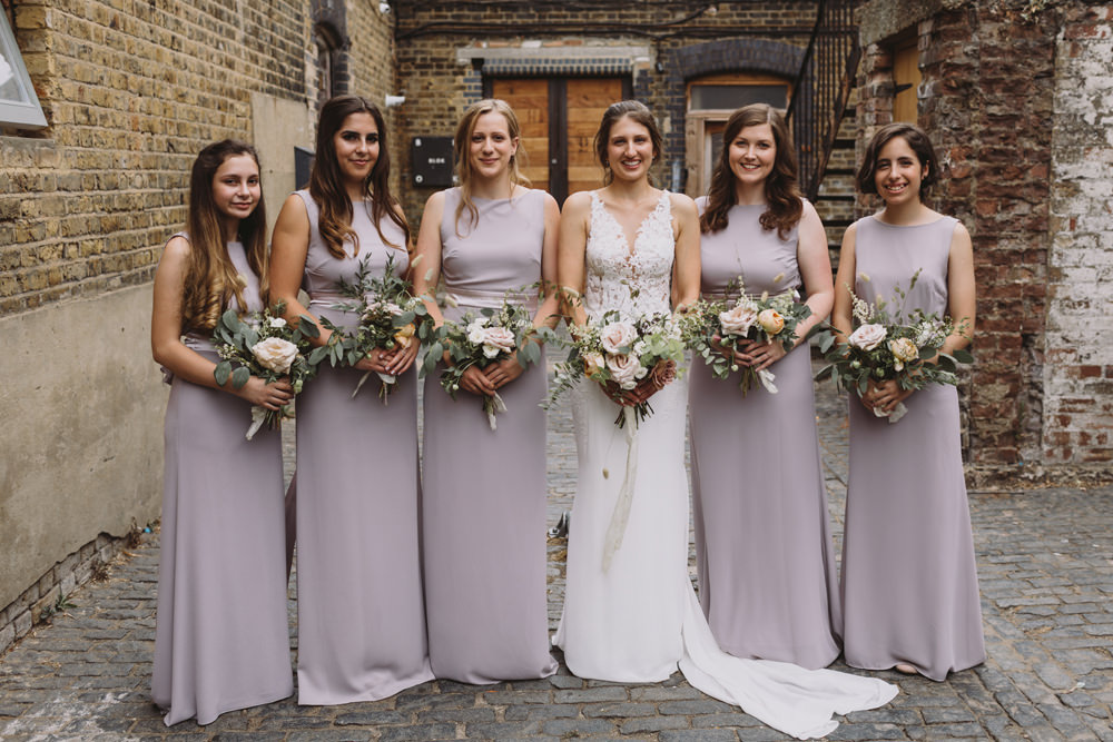 Bride Bridal Sleeveless V Neck Fit and Flare Train Pronovias Dress Gown Pink Dusk Boat Neck TFNC Bridesmaids Wild Bouquet Loose Handtied Rose Tram House Wedding Luke Hayden Photography