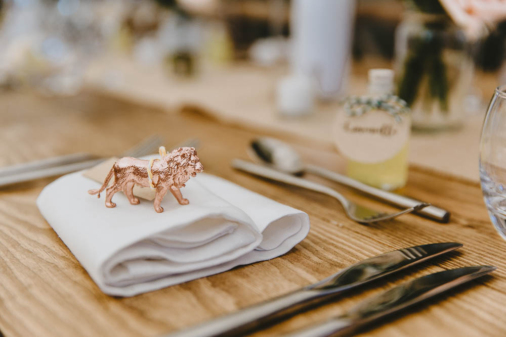 Copper Painted Toy Animal Place Name Calligraphy Luggage Tag Trevenna Barns Wedding Wild Tide Creative