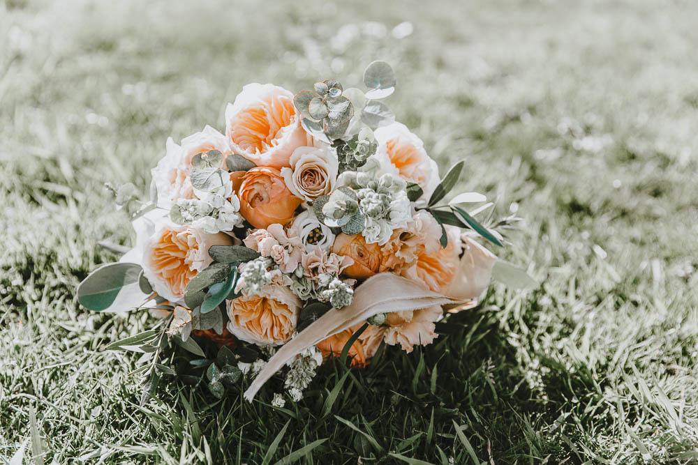 Bouquet Flowers Peach Blush Rose Bride Bridal Trevenna Barns Wedding Wild Tide Creative