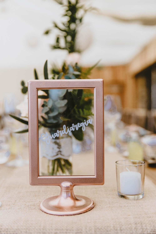 Copper Frame Clear Glass Table Names Trevenna Barns Wedding Wild Tide Creative
