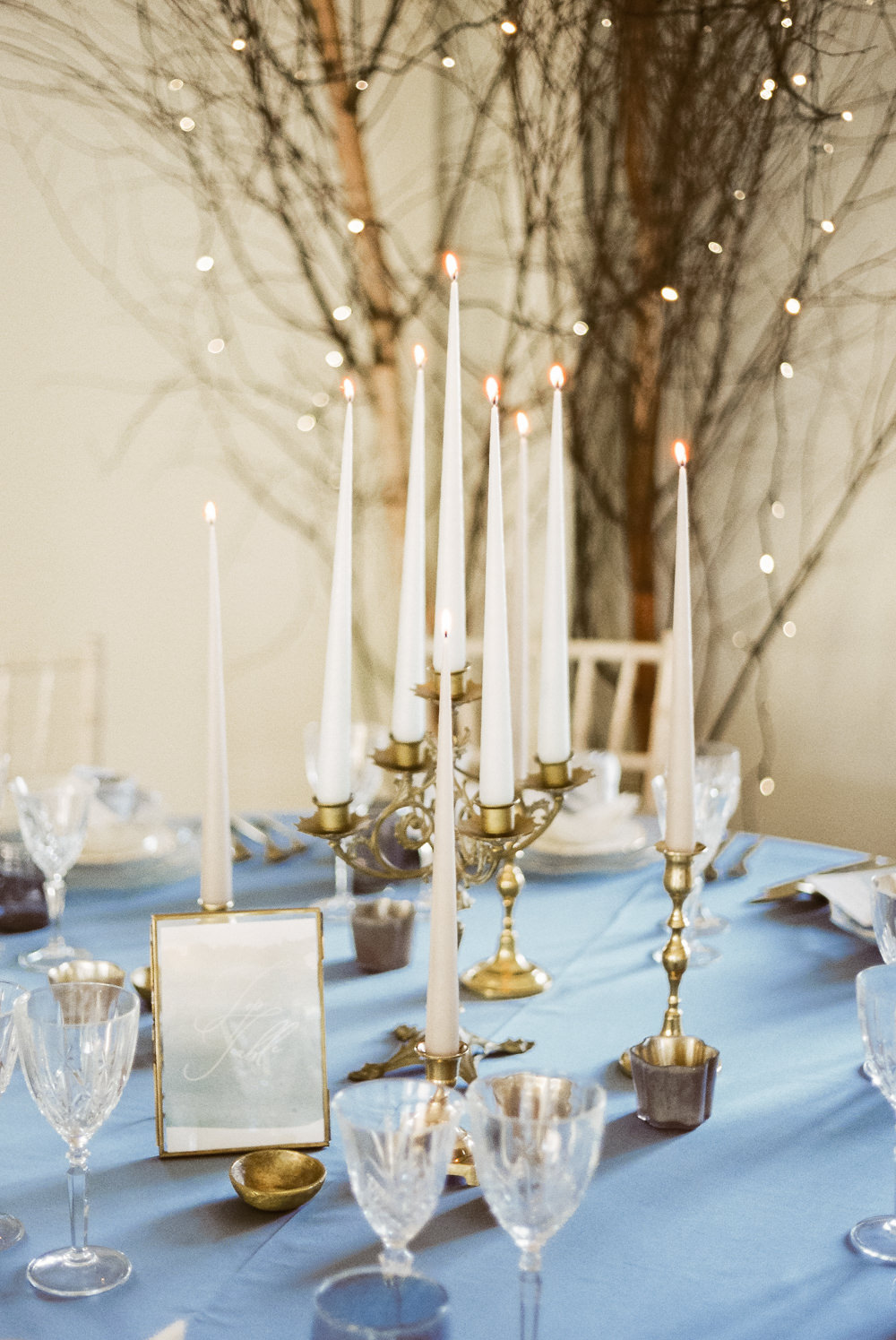Candle Sticks Table Decor Tablescape Winter Blue Barn Wedding Ideas Joanna Briggs Photography