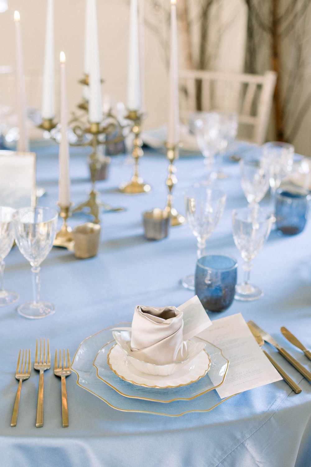 Place Setting Decor Napkin Winter Blue Barn Wedding Ideas Joanna Briggs Photography