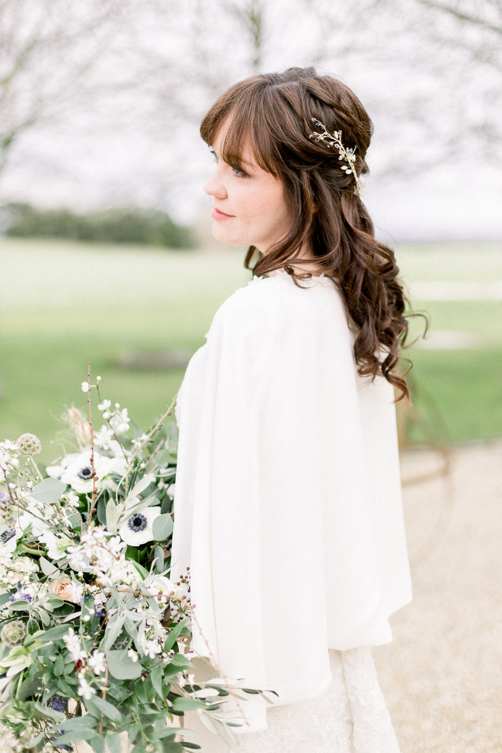 Dress Gown Bride Bridal Cape Winter Blue Barn Wedding Ideas Joanna Briggs Photography