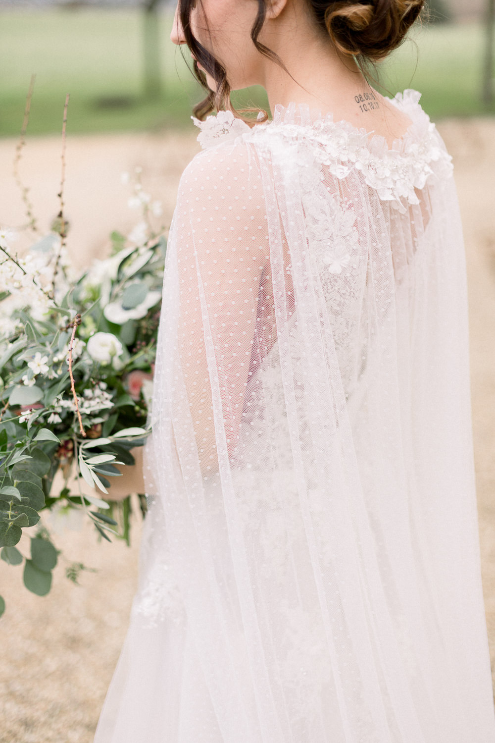 Dress Gown Bride Bridal Cape Veil Winter Blue Barn Wedding Ideas Joanna Briggs Photography