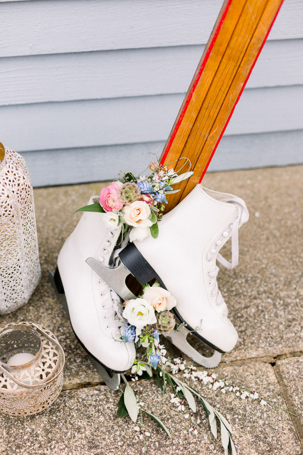 Ice Skates Flowers Decor Winter Blue Barn Wedding Ideas Joanna Briggs Photography