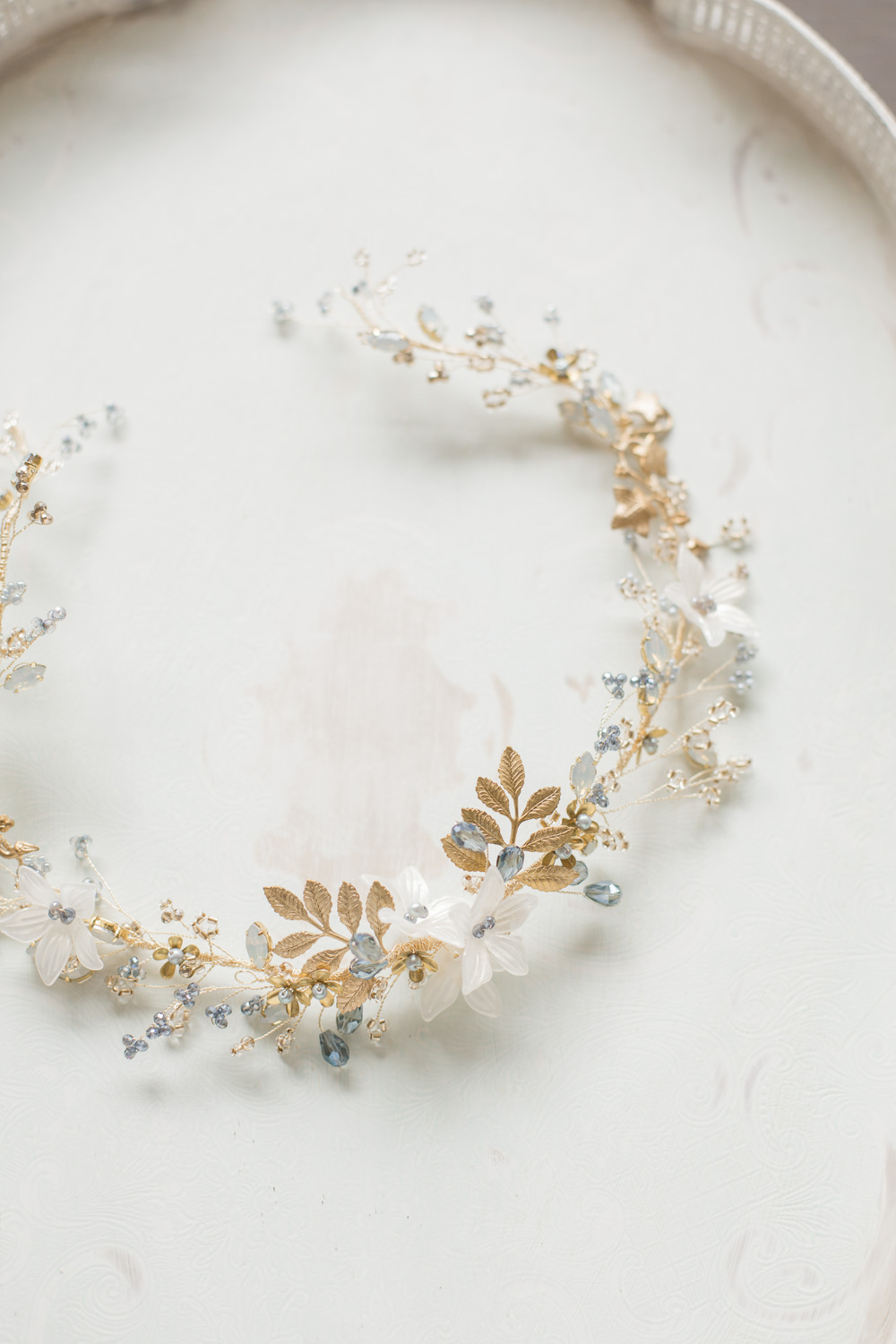 Bride Bridal Accessory Circlet Gold Leaf Hair Winter Blue Barn Wedding Ideas Joanna Briggs Photography