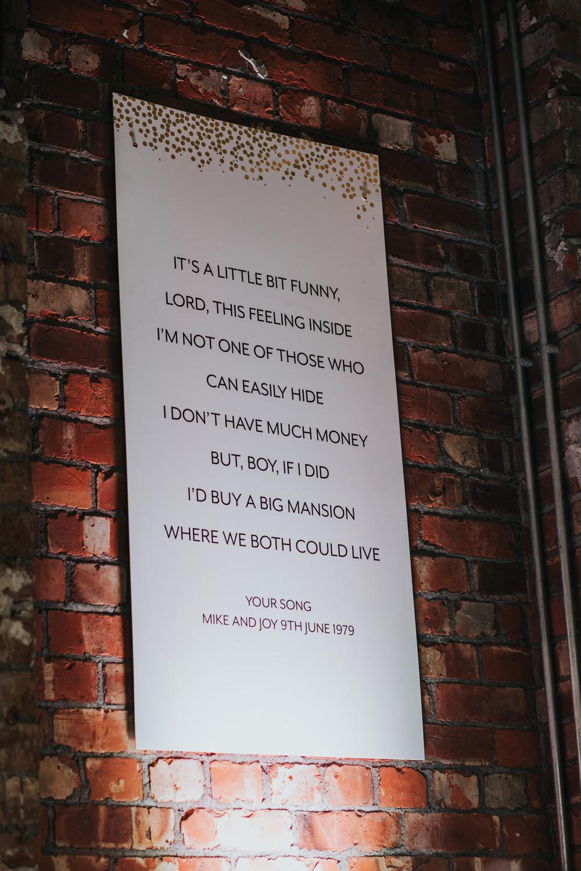 Song Lyrics Banner Decor Albert Hall Manchester Wedding Katie Dervin Photography