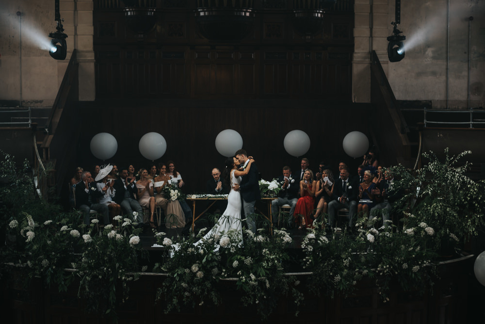 Pronovias Dress Gown Fit and Flare Embellished Sparkle Long Train Mismatched Suit Groom Large Oversized Balloons Greenery Stage Albert Hall Manchester Wedding Katie Dervin Photography