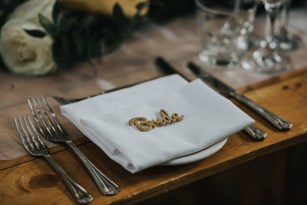 Table Place Setting Laser Cut Name Albert Hall Manchester Wedding Katie Dervin Photography