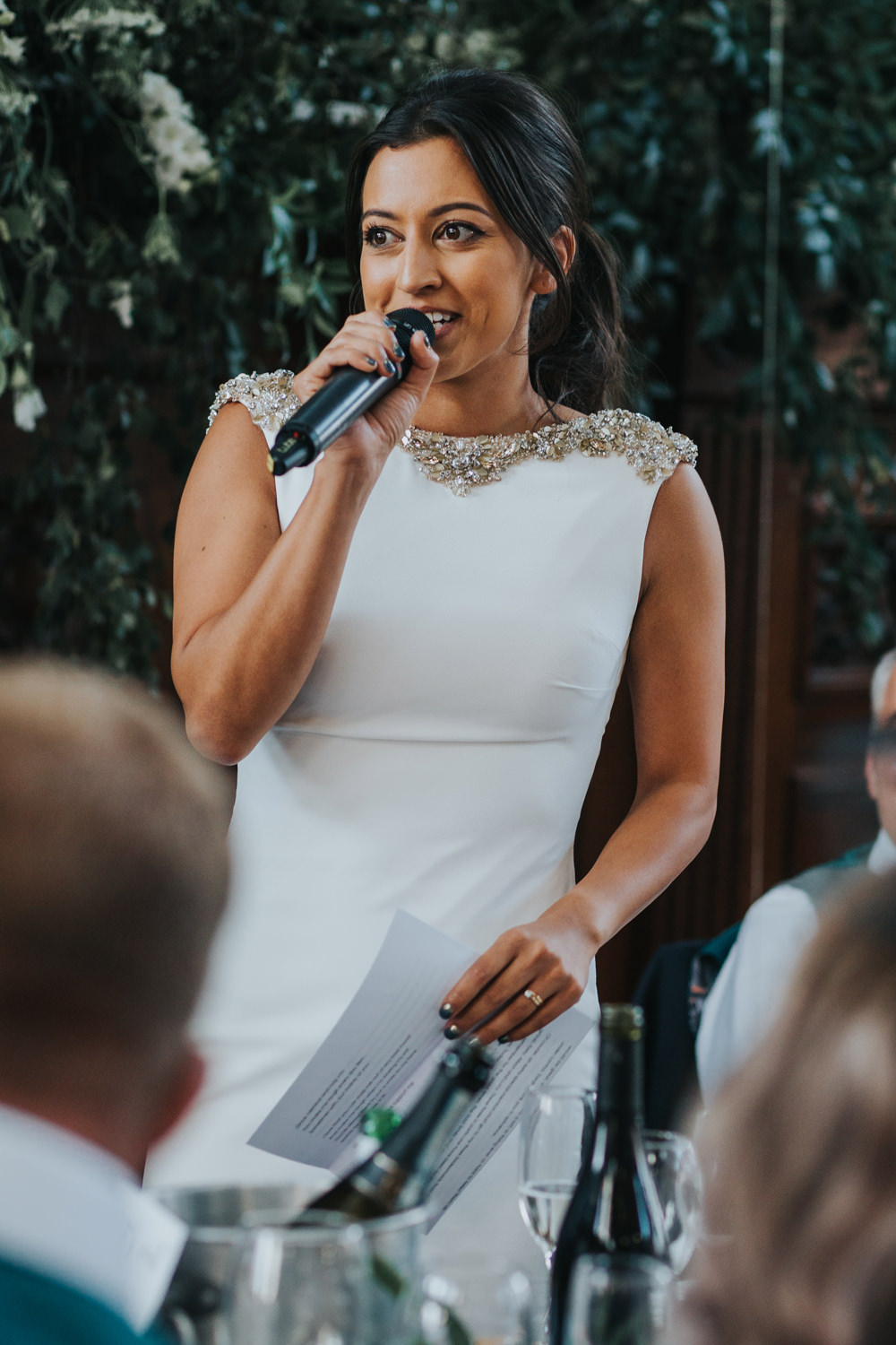 Pronovias Dress Gown Fit and Flare Embellished Sparkle Long Train Speech Albert Hall Manchester Wedding Katie Dervin Photography