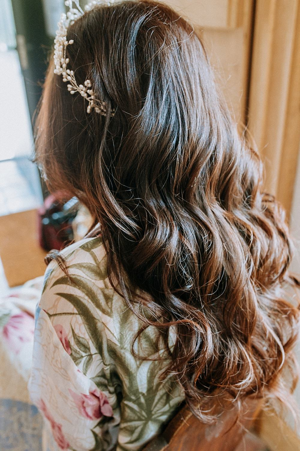 Headpiece Tiara Crown Accessory Bride Bridal Long Waves Hair Blue Gold Wedding Ideas Ailsa Reeve Photography