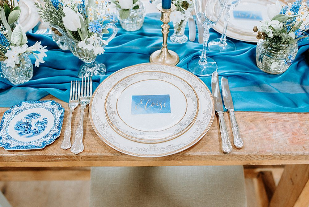 Place Setting Plate Cutlery Blue Gold Wedding Ideas Ailsa Reeve Photography