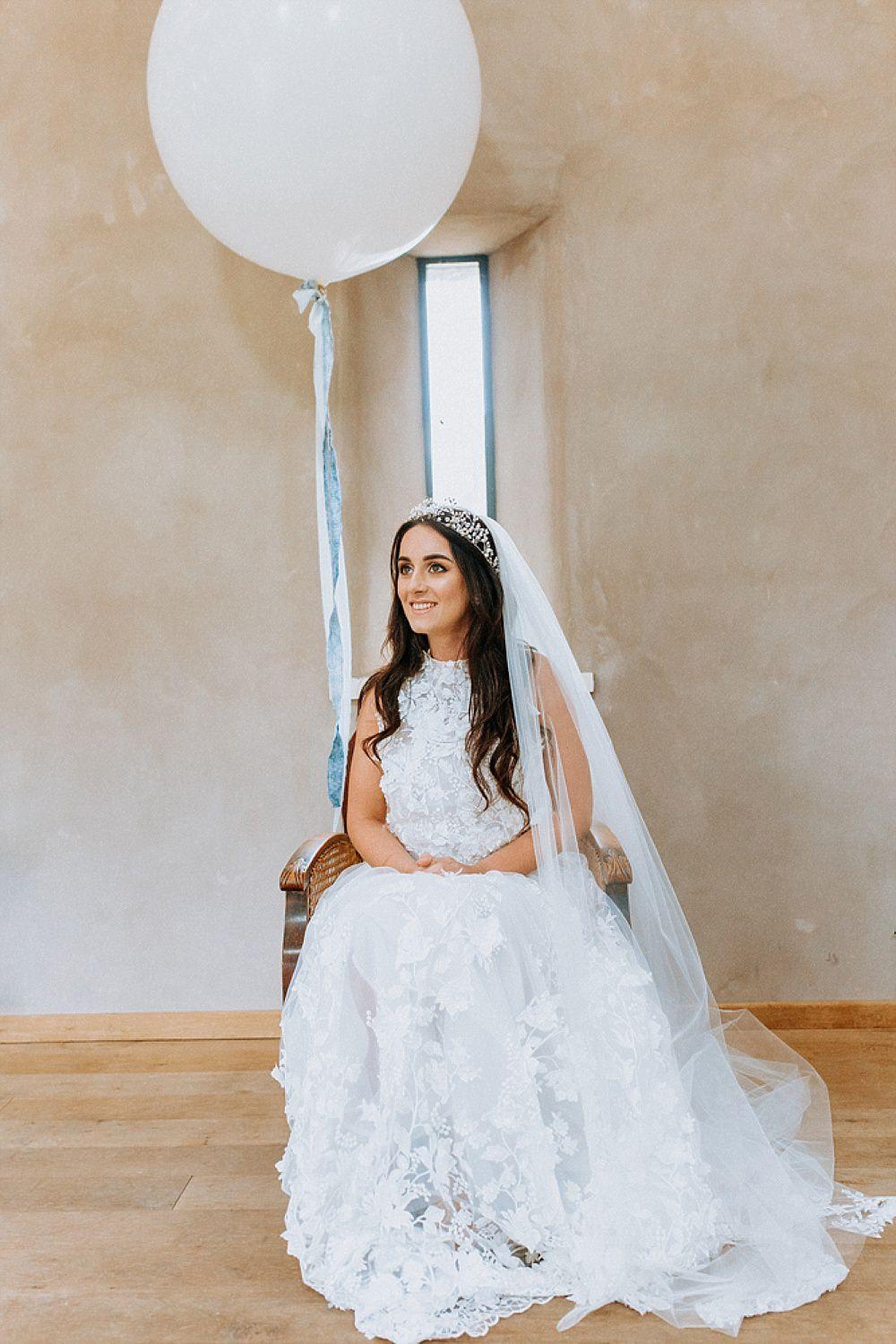 Dress Gown Bride Bridal Pronovias Flower Floral Applique Train Veil Blue Gold Wedding Ideas Ailsa Reeve Photography