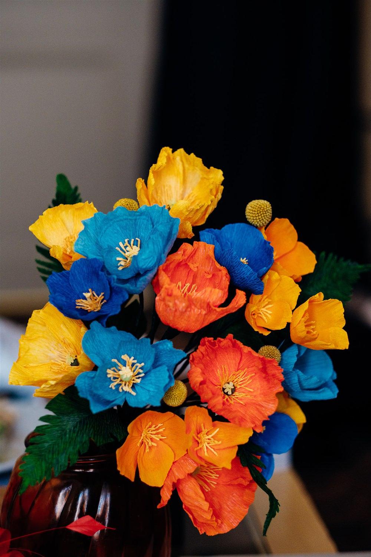 Paper Flowers Bouquet Bride Bridal Multicoloured Brighton Town Hall Wedding Marianne Chua Photography