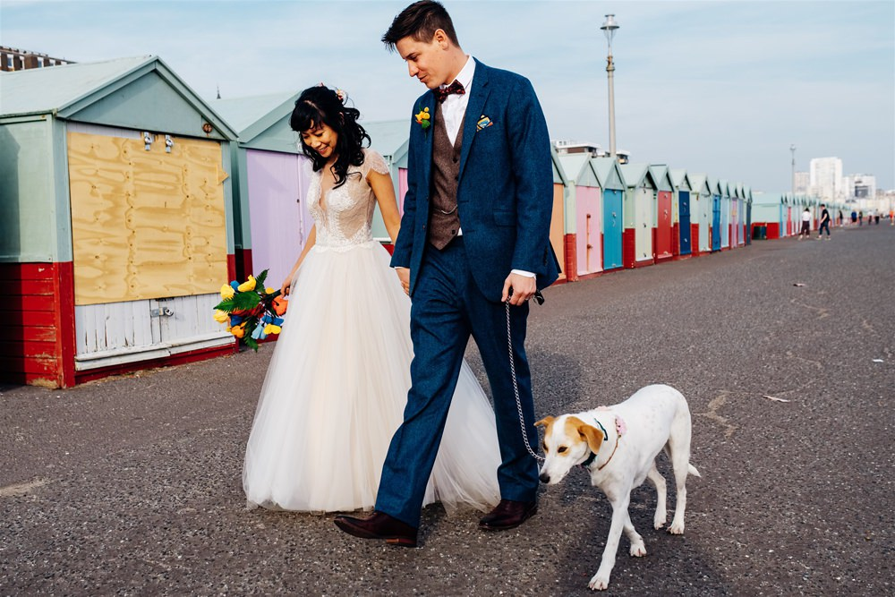 Bride Bridal Divine Atelier Dress Gown Tulle Skirt Lace Top Cap Sleeve Three Piece Suit Groom Multicoloured Paper Flower Bouquet Dog Brighton Town Hall Wedding Marianne Chua Photography