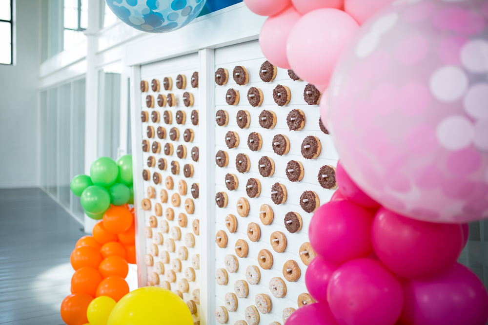 Donut Doughnut Wall Stand Colourful Balloons Wedding Ideas Florence Berry Photography