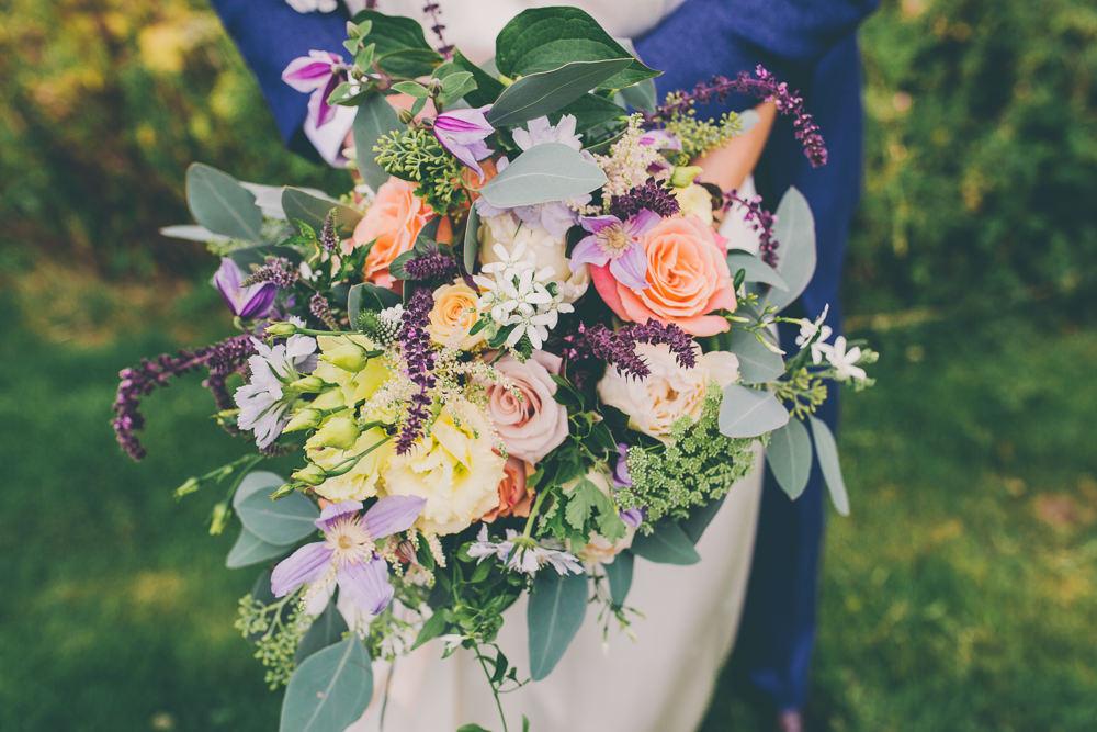 Bouquet Flowers Bride Bridal Peach Purple Rose High Billinghurst Farm Wedding Larissa Joice Photography