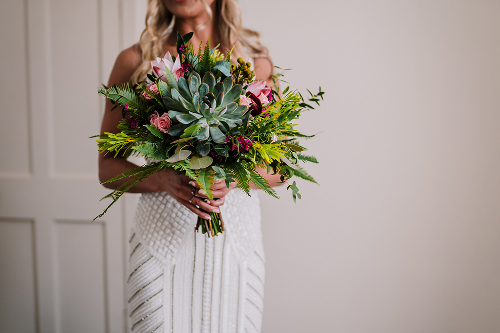 Succulent Fern Bouquet Bride Bridal Tropical Luxe Wedding Burfly Photography