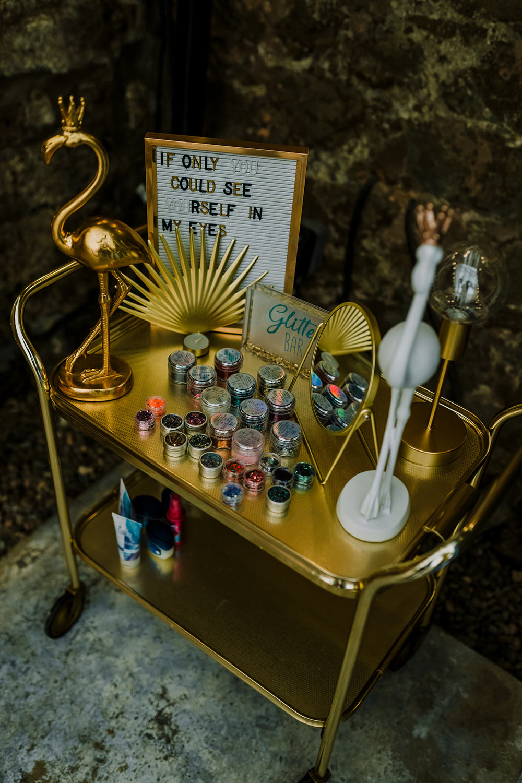 Glitter Bar Trolley Tropical Luxe Wedding Burfly Photography