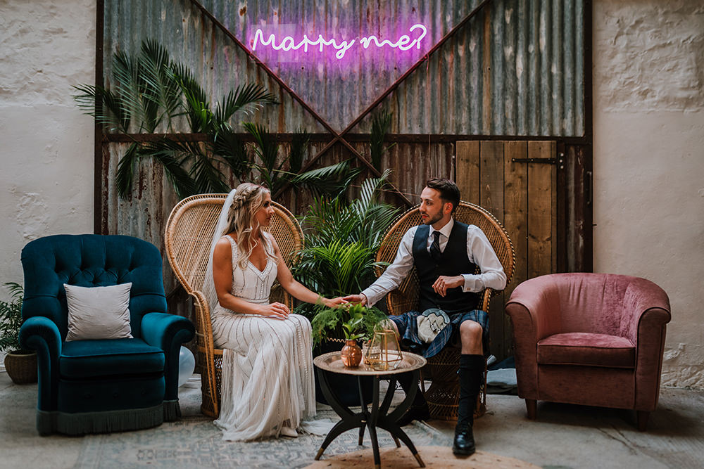 Bride Bridal Beaded Embellished V Neck Dress Gown Succulents Marry Me Neon Tropical Luxe Wedding Burfly Photography