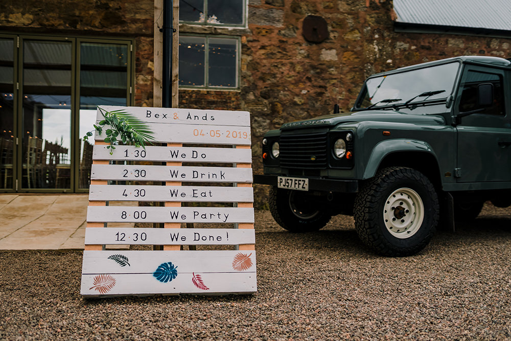 Pallet Order of Day Sign Handpainted DIY Tropical Luxe Wedding Burfly Photography